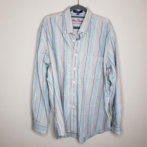 Alan Flusser 100% Cotton Button Front Shirt Stripe